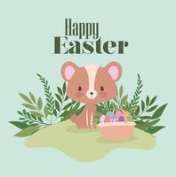 letras de feliz páscoa com um urso fofo e uma cesta cheia de ovos de páscoa vetor