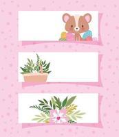 molduras com um urso fofo e uma cesta cheia de plantas vetor