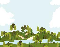 parque com estradas, árvores e um rio vetor