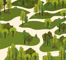 vista de árvores e estradas vetor