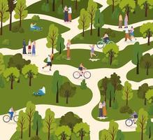 grupo de pessoas em um parque fazendo atividades diferentes vetor