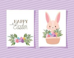 convite com letras de feliz páscoa, um coelhinho rosa fofo e uma cesta cheia de ovos de páscoa vetor