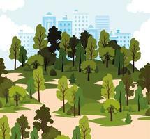 parque com muitas árvores e céu azul vetor