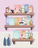 conjunto de ícones de cuidados com a pele em uma prateleira dentro de um banheiro vetor