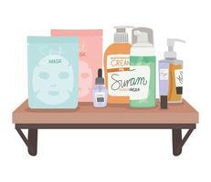 conjunto de ícones de cuidados com a pele em uma prateleira em um fundo branco vetor
