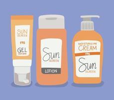 conjunto de gel protetor solar, creme e loção para cuidados com a pele vetor