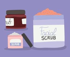 conjunto de esfoliante facial para cuidados com a pele vetor