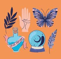 conjunto de ícones esotéricos em um fundo laranja vetor