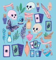conjunto de ícones esotéricos em um fundo azul vetor