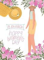 Letras do dia 8 de março feminino e mulher bonita com chapéu, blusa azul com flores vetor