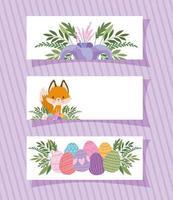 molduras com uma raposa fofa, flor roxa e ovos de páscoa vetor