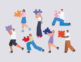 grupo de pessoas com peças de quebra-cabeça em um fundo cinza vetor