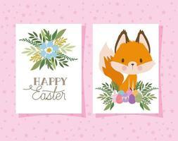 convite com letras de feliz páscoa com uma raposa fofa e uma cesta cheia de ovos de páscoa em um fundo rosa vetor