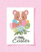 convite com letras de feliz páscoa, um urso fofo e uma cesta cheia de ovos de páscoa em um fundo rosa vetor