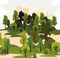 parque com muitas árvores e prédios amarelos vetor