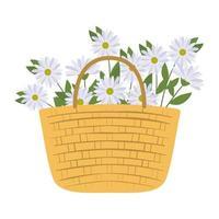 cesta de piquenique com um feixe de uma flor branca vetor