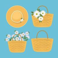 conjunto de cestas de piquenique com flores brancas e chapéu fofo vetor