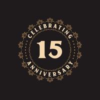 Celebração de 15 anos, cartão de felicitações pelo aniversário de 15 anos vetor