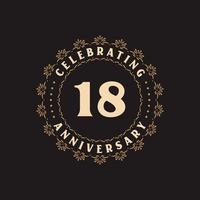 Celebração de 18 anos, cartão de felicitações pelo aniversário de 18 anos vetor