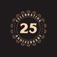 Celebração de 25 anos, cartão de felicitações para o aniversário de 25 anos vetor