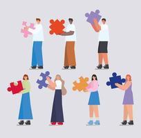 grupo de pessoas com peças de quebra-cabeça vetor