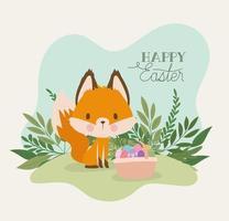 letras de feliz páscoa com uma raposa fofa e uma cesta cheia de ovos de páscoa vetor