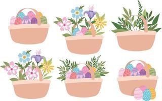 cestas cheias de ovos de páscoa, flores e plantas verdes vetor