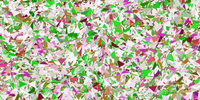 textura de vetor rosa claro com triângulos aleatórios