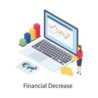 elementos de diminuição financeira vetor
