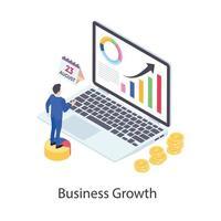 ícone isométrico de crescimento de negócios vetor