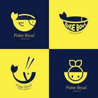 poke bowl logo vector pack