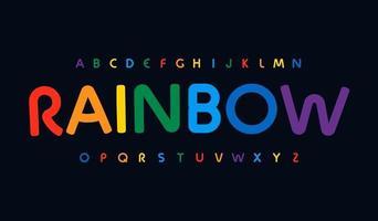 incrível alfabeto de cores do arco-íris. fonte impressionante arredondada, tipo minimalista para logotipo moderno e brilhante, título, monograma, letras criativas e tipografia. arte crianças coloridas letras, vetor design tipográfico