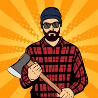 Hipster barba homem segurando o machado, distintivo de rótulo de lenhador, estilo retro, pop art, ilustração vetorial