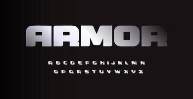 fonte metal bold (realce) austera, letras com textura metálica cromada ou alumínio. tipografia do vetor. vetor