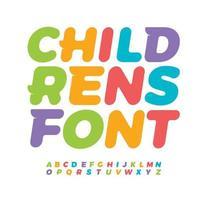 letras de bebê com alfabeto de crianças com serifa de cauda engraçada. fonte colorida em negrito itálico, tipo de logotipo do quarto do bebê, design de embalagem criativa e letras de cor da zona infantil. design tipográfico vetorial vetor