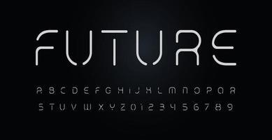 futuro alfabeto de estêncil. fonte de vetor com apagamento de partes das letras. fonte de linha de segmento fino, tipo mínimo para logotipo futurista moderno, monograma elegante, dispositivo digital, pôsteres e gráfico da web hud.