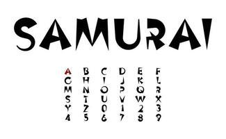 letras de vetor de tinta preta, conceito de fonte em negrito dos desenhos animados em estilo japonês e chinês para manchete, monograma e logotipo asiático. alfabeto samurai e ninja.