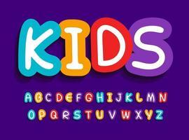 conjunto de letras de vetor de crianças. alfabeto brilhante criativo engraçado. fonte para brinquedos de bebê, aniversário infantil, quarto do bebê, zona infantil ou outra publicidade de desenho animado, logotipo e arte. design de tipografia.