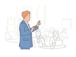 um homem de terno está dando uma palestra na frente de várias pessoas. mão desenhada estilo ilustrações vetoriais. vetor