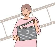 uma mulher está segurando uma claquete. mão desenhada estilo ilustrações vetoriais. vetor