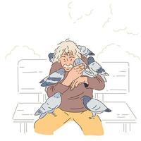 um velho está sentado em um banco de parque e muitos pombos estão sentados em seus ombros. mão desenhada estilo ilustrações vetoriais. vetor