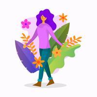 Menina plana com ilustração vetorial de flor colorida