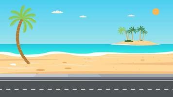 ilha de praia tropical e estrada. férias lazer natureza conceito ilustração vetorial. Bela vista do mar com coqueiro e céu de verão. vetor