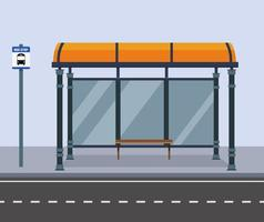 ponto de ônibus na rua cidade. Estrada pública com banco e ilustração de sinal de parada de ônibus. vetor