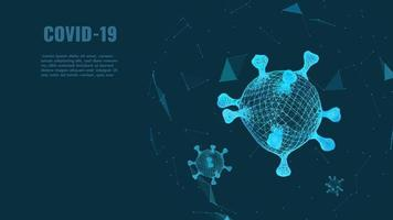 doença de infecção por coronavírus 2019. vector illustration.realistic covid-19 holograma background.3d modelos de coronavírus modelo de design de bactérias. conceito de varredura de vírus