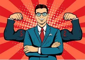 Homem com estilo retro do pop art do dólar da moeda dos músculos. Empresário forte em copos no estilo cômico. Ilustração em vetor conceito sucesso.