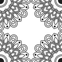 moldura decorativa de etnia mandala monocromática floral vetor
