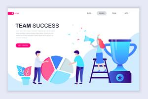 Banner de sucesso de equipe vetor
