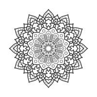 ícone artístico de etnia mandala monocromática floral decorativa vetor