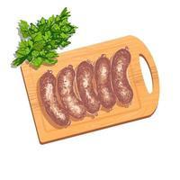 Ilustração em vetor colorida de linguiça crua para fritar mentira grelhada na tábua com um ramo de salsa